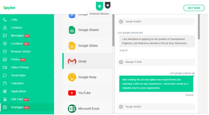 Spyine Gmail