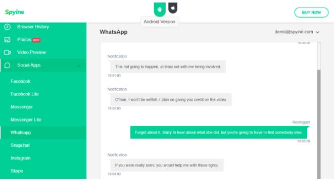 Spyine Whatsapp messages